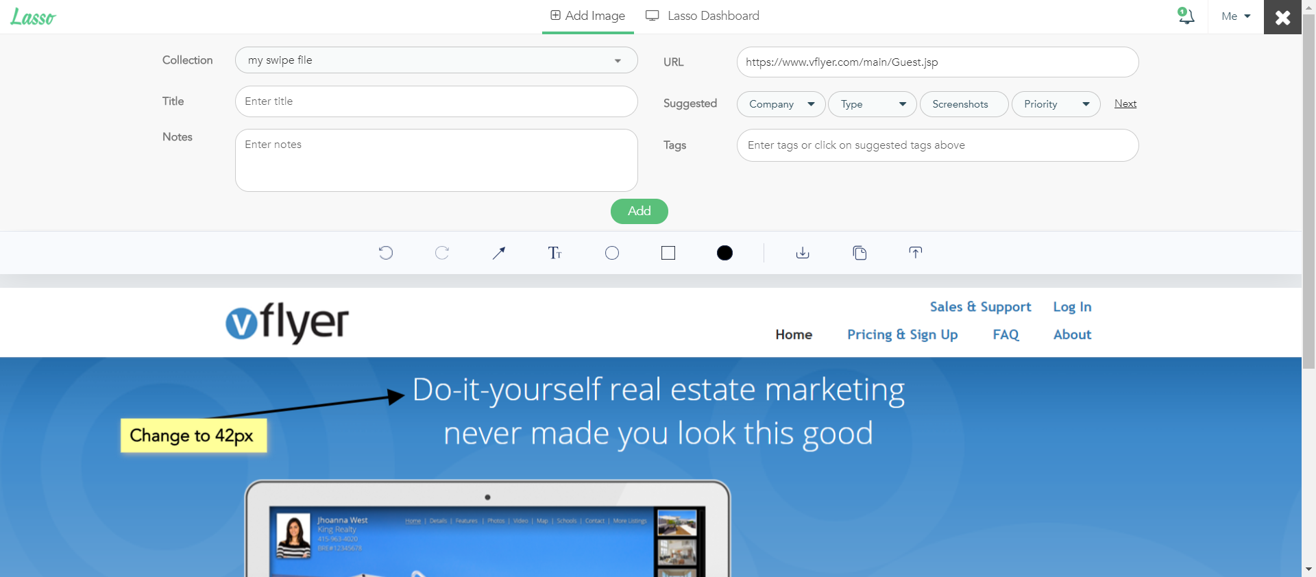 Annotate screenshots in our browser extension